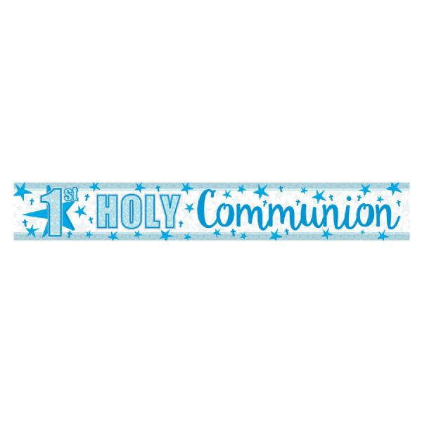First Holy Communion Holographic Blue Banner